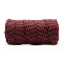 SZNUREK DO MAKRAMY 3mm BAW. BORDO (100m)