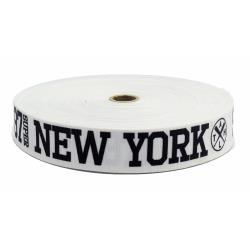 """TAŚMA RYPSOWA 30 biała,czarne """"NEW YORK"""" 50m"""