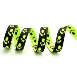 TAŚMA 15mm smyczowa wz.łapka żólty neon