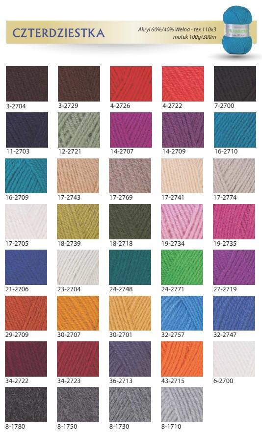 Czterdziestka - karta kolorów