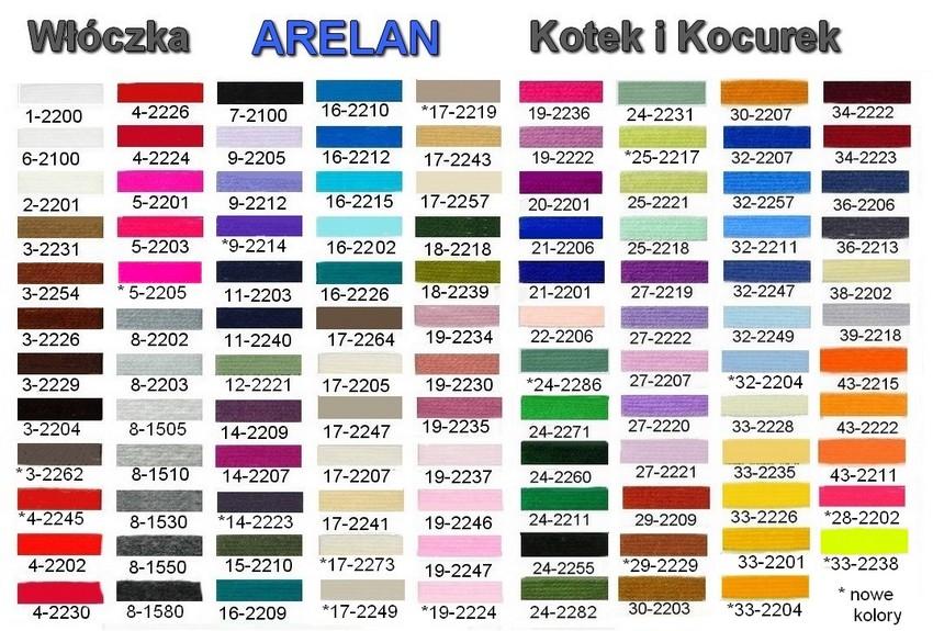 Karta kolorów - włoczka Arelan