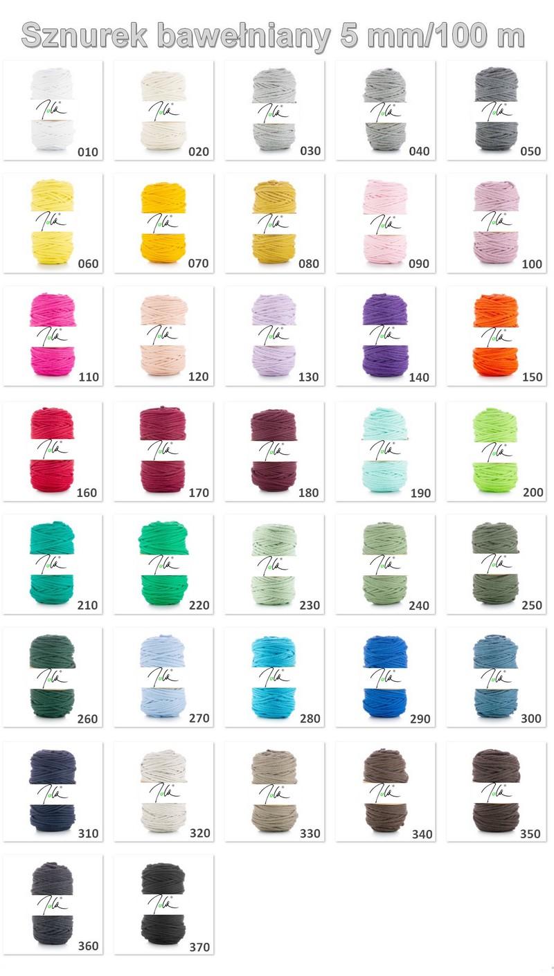 Sznurek bawełniany - karta kolorów