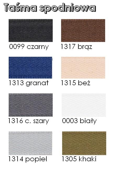 Karta kolorów - taśma spodniowa