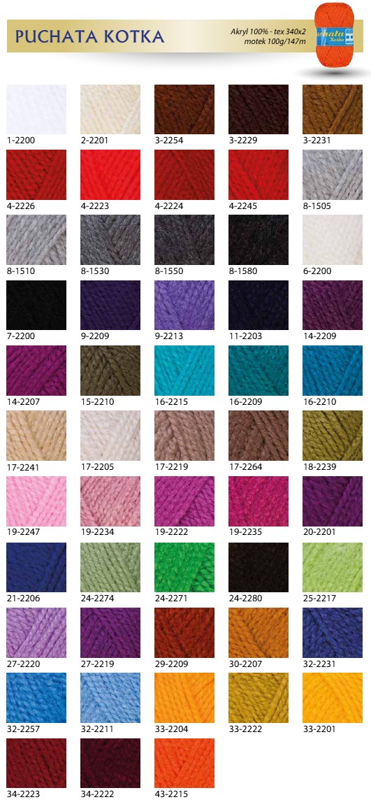 Puchata Kotka - karta kolorów