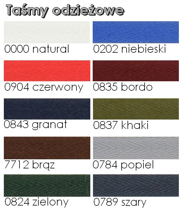 Karta kolorów - taśmy odzieżowe
