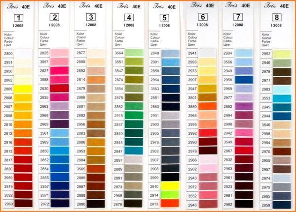Karta kolorów - Nici Iris