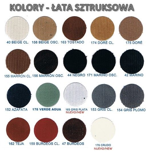 Karta kolorów - łaty sztruksowe
