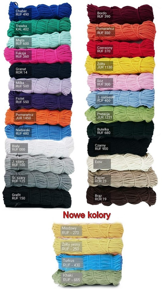 Sznurek bawełniany - kolory