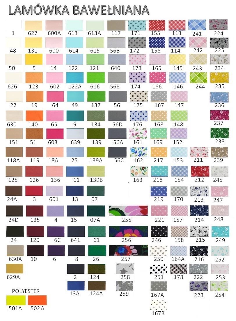 Karta kolorów - lamówka bawełniana