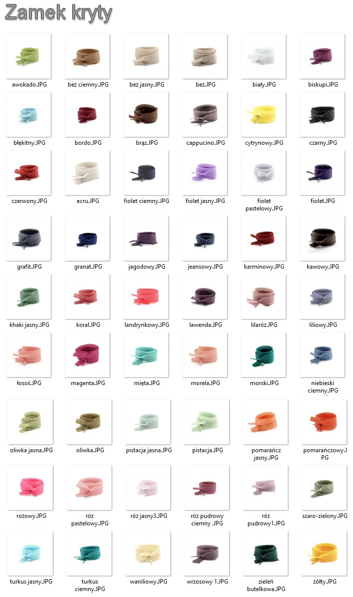 Zamek kryty - karta kolorów